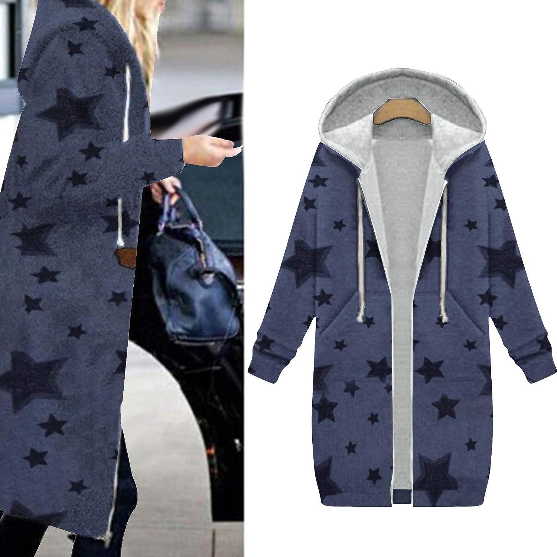 Frauen lässig Mode solide und Bedruckte Jacke Reißverschluss Tasche Sweatshirt Langarm Mantel Lange Kapuze Jacke B