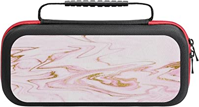 $26 » Pastel Pink Gold White Marble Case Compatible with Switch Case Protective Carry Bag Hard Shell Storage Bag Portable Travel...