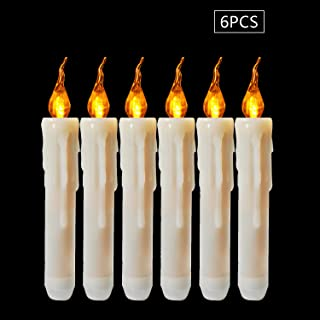 Boatee 6 Pack Flameless Led Taper Candles Battery Operated, Fake Candles Wax Dipped Amber Flicker Led Small Candles for Christmas Window Votive Table Decor