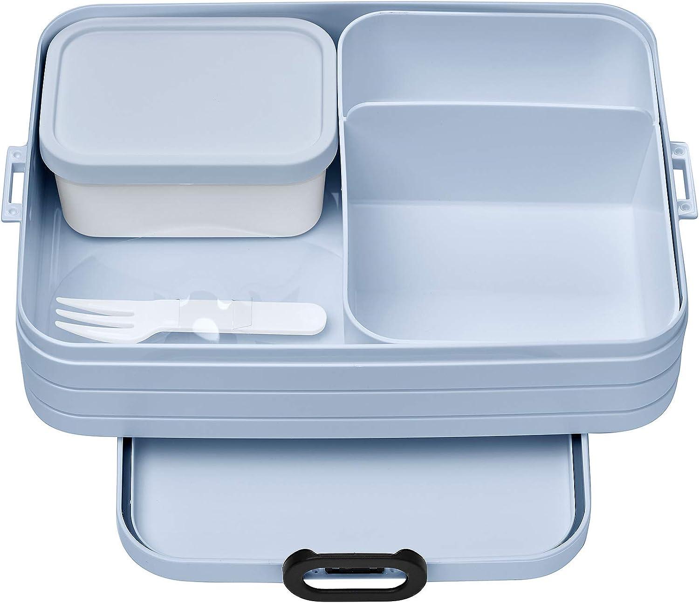 Mepal Bento Take A Break Nordic Blue Large - Fiambrera con compartimentos, apta para hasta 8 panes de mantequilla, polipropileno, 1500 ml