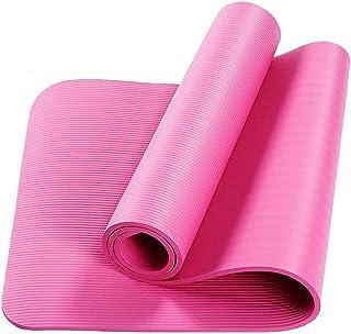 Yogamatta 10 mm utomhus sport picknickmatta med remmar gym träningsmatta konditionsträning Rosa