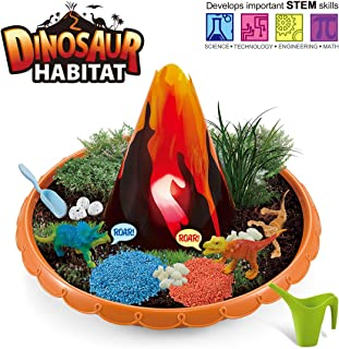 Dinosaur Habitat Grow and Glow, Dino Garden Craft Kit, DIY Painting Plant Set Indoor Outdoor Play, Activity Gardening Art Tool Set Toys for Kids Toddlers, Create Your Fairy Garden, Girls Boys Age 3 Up