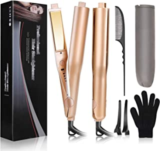 USHOW Flat Iron Hair Curler Hair Straightener 2 in 1 Professional Hair Curling Irons with 1 Inch...
