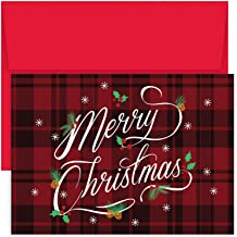 Masterpiece Hollyville 18-Count Christmas Cards in Keepsake Box, Plaid Merry Christmas