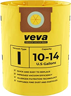 VEVA 10 Pack Premium Vacuum Filter Bags Type I 9067200 Work with Shop Vac 10-14 Gallon Vacuum, Part # SV Shopvac Shop-vac 90672
