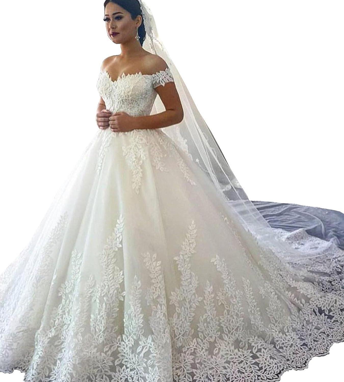 Changjie Women's Cap Sleeves Aline Wedding Dresses Lace Applique Bridal Gown