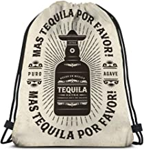 Classic Drawstring Bag Sport Storage Bag vintage mas tequila por favor more tequila please typography label bottle editable eps