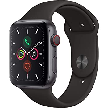 Apple Watch Series 5 (GPS + Cellular, 40MM) - Space Gray Aluminum Case with Black Sport Band (Renewed)