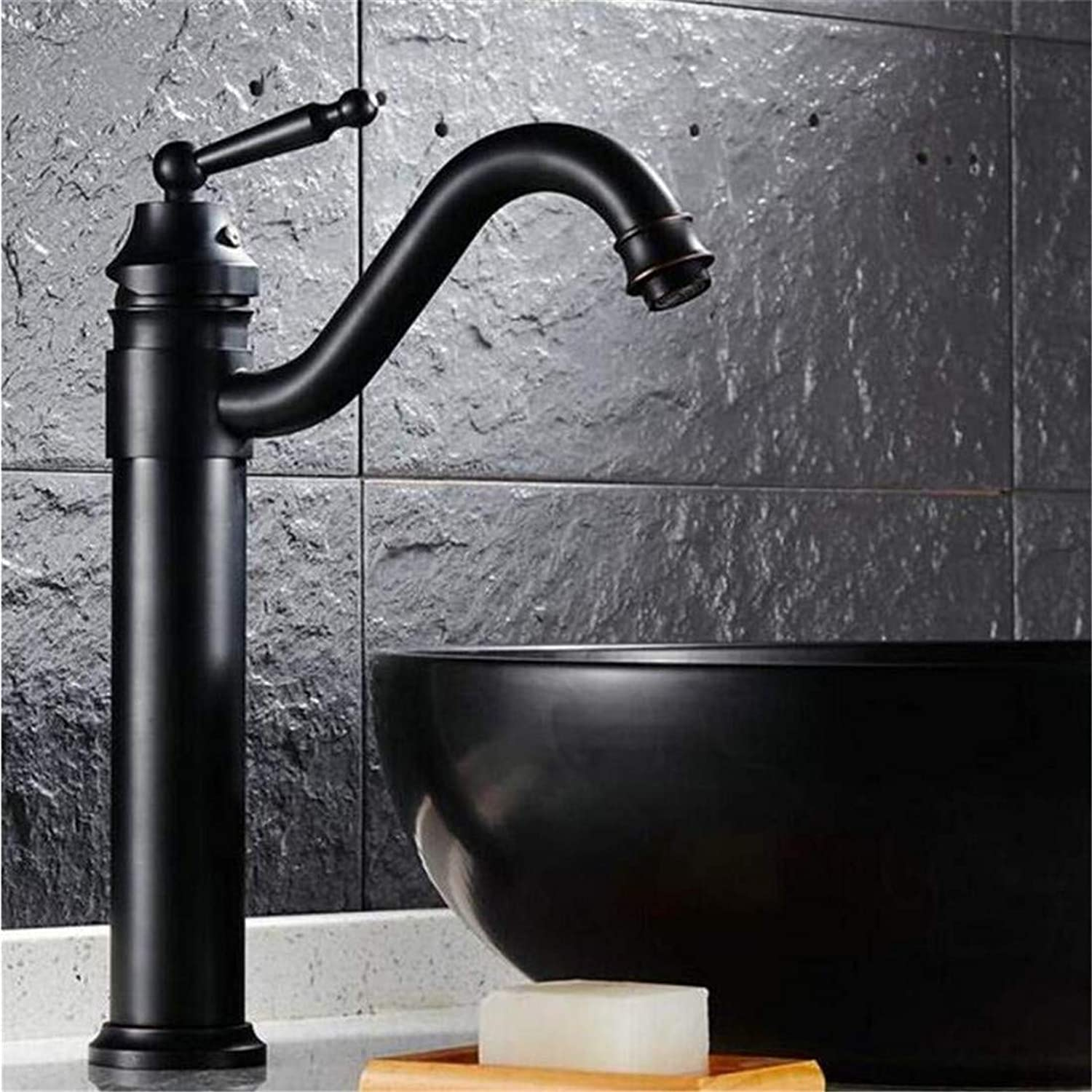 Retro Hot and Cold Water Brass Kitchen Sink Basin Faucet Black Brass Ceramic Handle Retro Style Mixer Tap