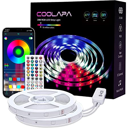 Led Strip Light, COOLAPA 20M (65.6 FT) RGB Strips Lighting, with Remote & Box for Bedroom Home Kitchen, Decoration, APP Control Light Strip with Bright 5050 LEDs, 2pc x 10m