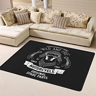 Randell Carpet Non-Slip Floor Mat Biker Quote with Dog for Garage Service Shirt Spare Parts Image Doormat for Bathroom and Livingroom 63 x 48 in