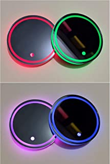 Universal LED Car Cup Holder Lights Mats Pad Colorful Lamps RGB Drink Coaster Accessories Interior Decoration Atmosphere LED Lamps Fit for Car Truck SUV Vehicle Hyundai Honda Toyota Jeep Ford