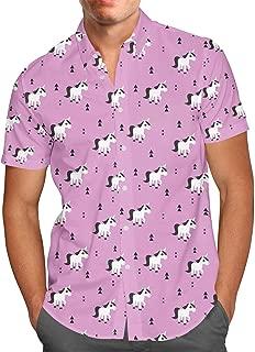 Rainbow Rules Geometric Unicorns Mens Button Down Short Sleeve Shirt