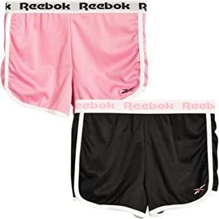 Reebok Girls` Running Shorts -Athletic Gym Dolphin Shorts for Running and Yoga (2 Pack)