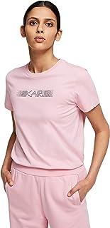 KARL LAGERFELD Rhinestone Logo T-Shirt Camiseta para Mujer