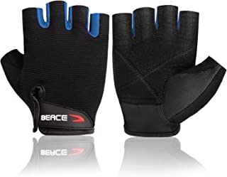 BEACE Weight Lifting Gym Gloves with Anti-Slip Leather Palm for Workout Exercise Training Fitness and Bodybuilding for Men...