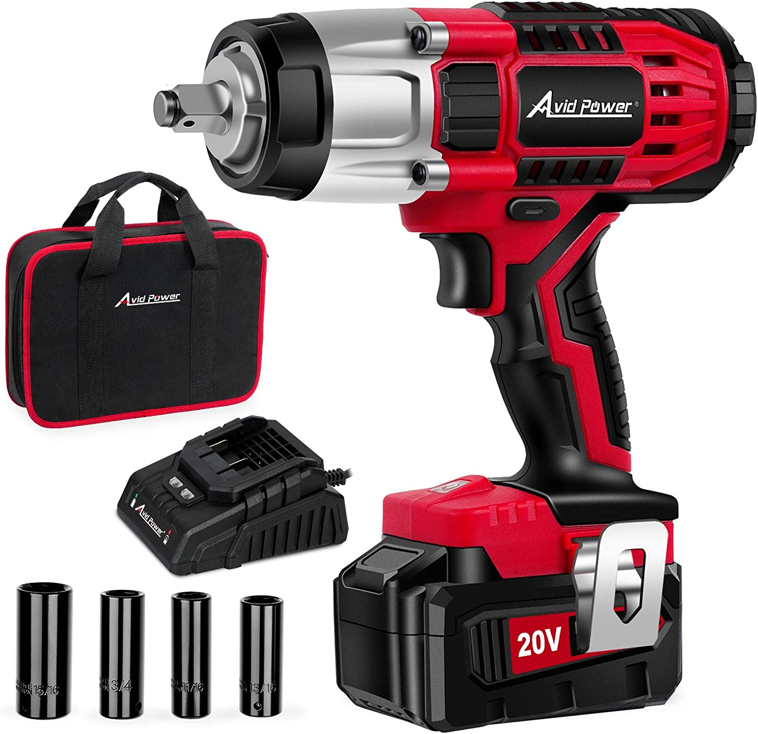 AVID POWER JSS1 20V MAX Cordless Impact Wrench for Tires and Automotive Repair
