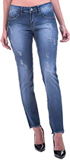 Calça Jeans Bloom Reta Detalhe Barra Azul