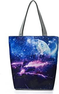 Women's Top-Handle Bags,Cotton Canvas Tropical Ethnic Style Galaxy Starry Tote Bag Goodbye My Almost Lover Shopping Bags