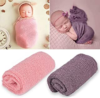 Outgeek Newborn Baby Photography Props 2 Pcs Long Ripple Wrap Newborn Props Baby Photo Props DIY Newborn Photography Wrap (Pink and Lilac)