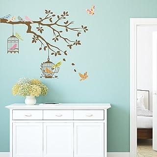 DECOWALL DW-1510BR Oiseaux sur Branche d'arbre avec Cages à Oiseaux (Marron) Autocollants Muraux Mural Stickers Chambre En...