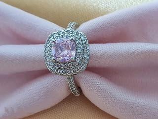 يايايويو خاتم أنيق زركون وردي 4ct 5A مرصع الزركون 925 الفضة الاسترليني خاتم الخطوبة الزفاف كوكتيل الدائري هدية للنساء