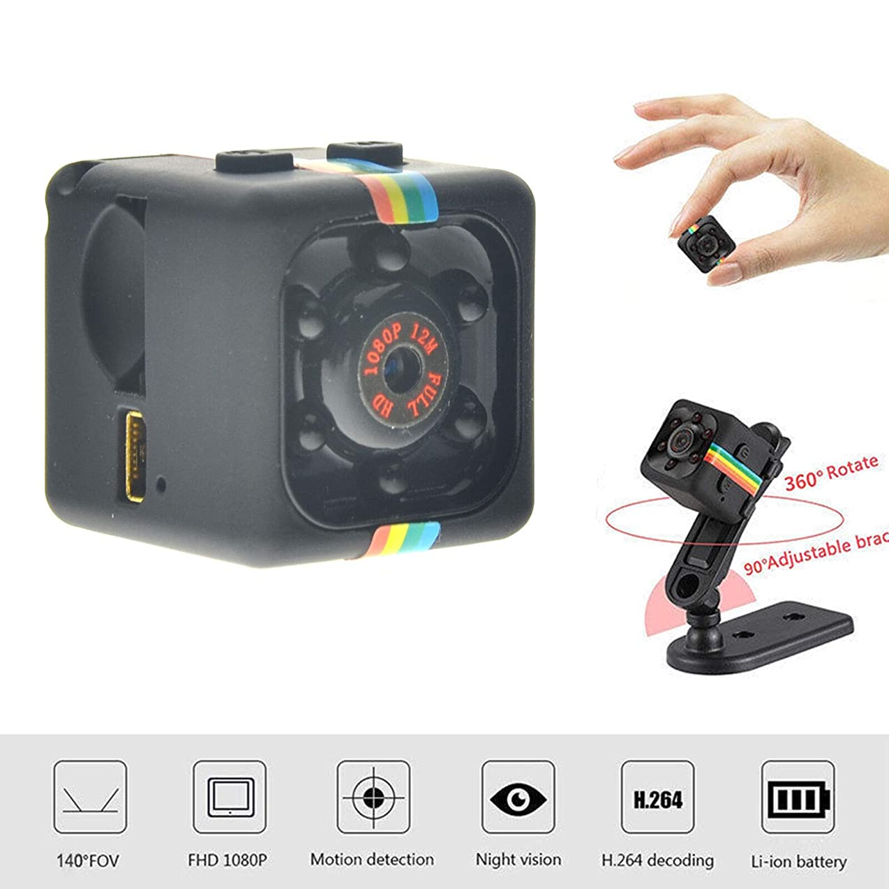 toyofmine Hidden Spy Camera For Home Surveillance Camcorder WIFI HD 1080P Mini Wireless IP xteddujbajcc0478