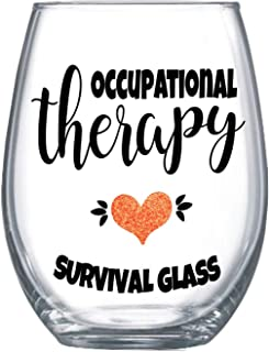 Best Funny Occupational Therapy Therapist Gifts for Women Stemless Wine Survival glass™ 0212