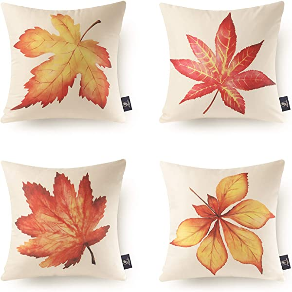 Phantoscope Pack Of 4 Fall Throw Pillow Cover Thanksgiving Decor Golden Autumn Harvest Maple Leaves 18 X 18 Inches 45 Cm X 45 Cm