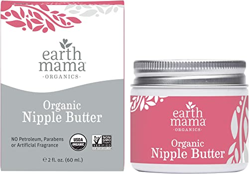 Organic Nipple Butter Breastfeeding Cream by Earth Mama | Lanolin-free, Safe for Nursing & Dry Skin, Non-GMO Project ...