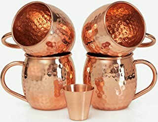 Set of 4 Scash Handcrafted 100% Pure & Solid Copper Moscow Mule Mugs Hammered Finish Food Safe 16 Fl Oz Free One Shot Glass