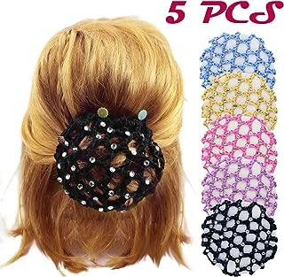 DLOnline 5PCS Women Girl Rhinestone Bun Cover Crochet Snood Hair Net For Ballet Dance Skating,Bun Cover Snood Hair Net Ballet Dance Skating Chic Crochet With Pearl