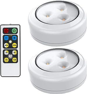 Brilliant Evolution Wireless Remote Control LED Puck Light 2 Pack | LED Under Cabinet Lighting | Closet Light | Battery Po...