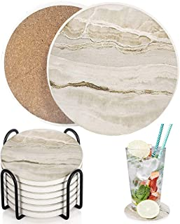 Drink Coasters with Holder, Absorbent Coaster Sets of 6, Marble Style Ceramic Drink Coaster for Tabletop Protection,Suitab...