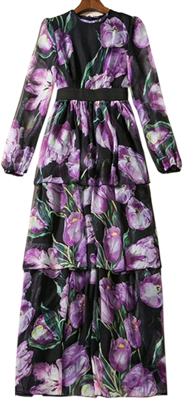 BCVHGD Bohemian 3D Print Floral Maxi Dress Longo De Festa Robe Longue Autumn Woman