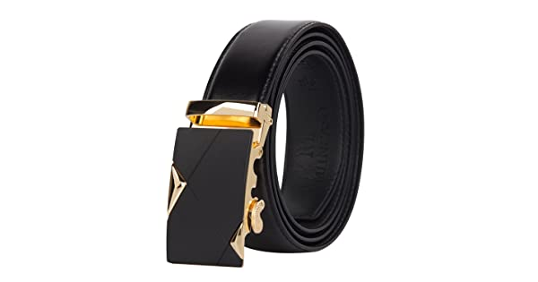 Muncaso Mens Belt Lether Ratchet Belt 35mm With Automatic Buckle Black 2 Buckle