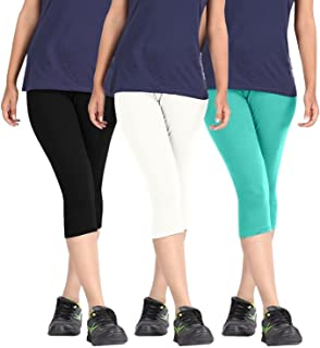 ROOLIUMS ® (Brand Factory Outlet Womens Cotton Capri Combo Pack of 3, 4 Way, 190 GSM - Free Size (Black, White, Sea Green)