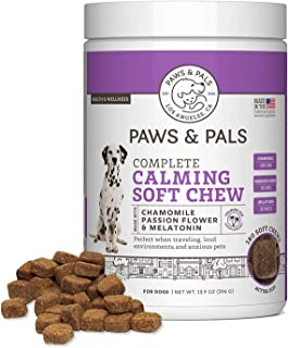 Sponsored Ad - Paws & Pals Dog Calming Treats: Pet Anti Anxiety Supplement for Dogs & Cats with Melatonin, Chamomile & Gin...