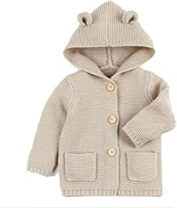 Guy EugendssgNew Baby Sweaters Boy Girl Cardigan Cartoon Bear Ear Hooded Jackets Autumn Kids Knitted Clothes