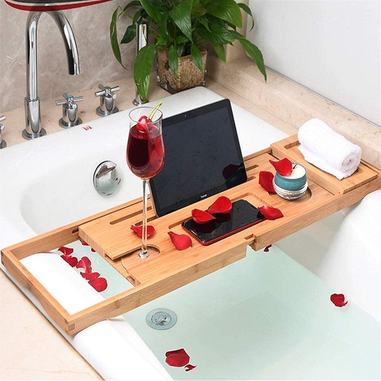 Adjustable Max 77% OFF Bathroom Storage Bathtub Bamboo Year-end gift Shelf B Tray-