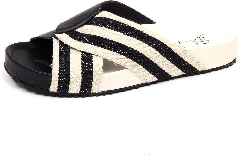 Leather Crown F0518 Ciabatta herren schwarz Ivory Leather Tissue Sandal schuhe Man