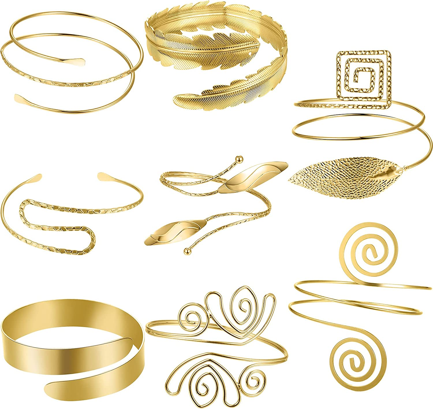 8 Pieces Arm Cuff Upper Arm Band Cuff Arm Bracelet for Women Girls Open Upper Arm Bangle Gold Adjustable Armband Jewelry Set
