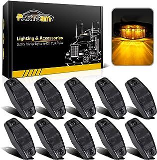 """Partsam 10pcs 2.5"""" Mini Oval Amber Led Side Marker Clearance Trailer Lights 2 Diodes Smoke Lens Fender Mount Lights Identification Lights Waterproof 12V Sealed Surface Mount (2.05""""x1.06"""")"""