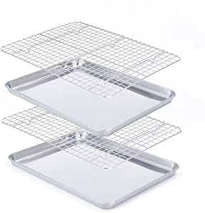 Baking Sheet with Cooling Rack Set [2 Pans + 2 Racks], Stainless Steel Baking Pan with Rack, Size 16 x 12 x 1 Inch, Heavy Duty, Easy Clean,Dishwasher Safe