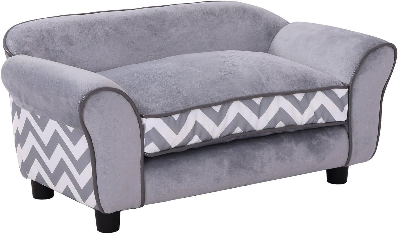 PawHut Pet Sofa Long-awaited Couch Dog Cat Bed Comf Sponge Brand Cheap Sale Venue Wooden Lounge