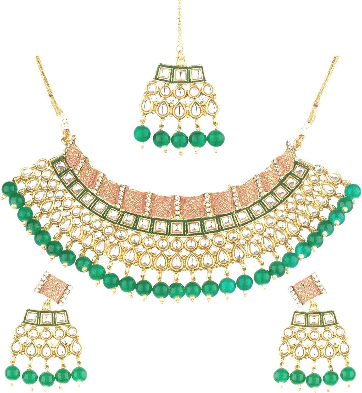 Efulgenz Indian Kundan Crystal Pearl Bollywood Traditional 14 K Gold Plated Wedding Choker Necklace Earrings Maantikka Jewelry set