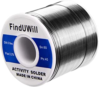 """FindUWill Solder Roll, 60/40 Alloy, 0.031"""" Diameter,""""44"""", 1.5"""", 1 lb, Tin Lead Solder Wire with Rosin for Electrical Soldering (0.031inch/0.8mm-1lb)"""