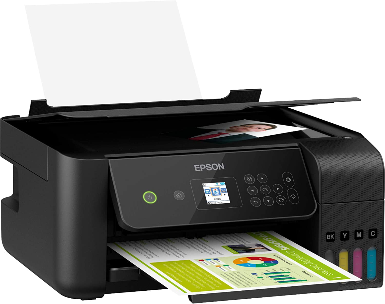 Epson EcoTank ET 2719 Wireless Color Inkjet All-in-One Supertank Printer for Home Business Office - Black - Print Scan Copy - Voice Activated - 10.5 ppm, Borderless Photo Printing, Ethernet