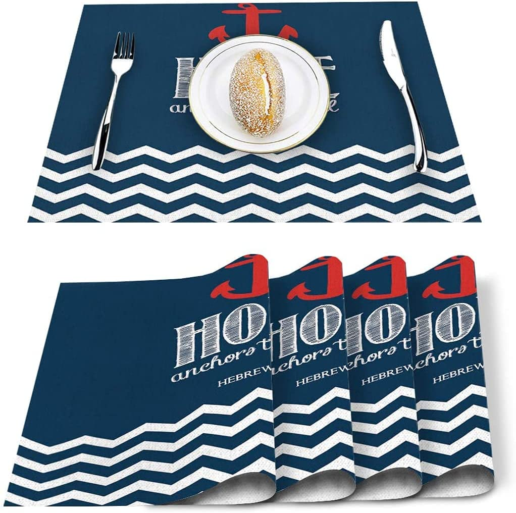 Placemats Set of Jacksonville Mall 6 Gorgeous Anchor is Resi The Stain Soul Hope Polyester
