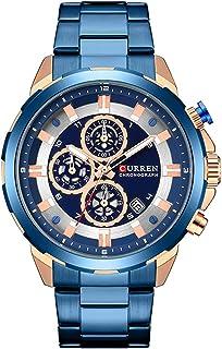 Men's Waterproof Sports Watch Chronograph Military Multifunction Watch Stainless Steel Analog Quartz Watch